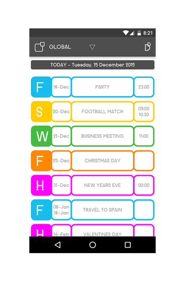 EVENTS LIST, Your Real -time synchronized schedule